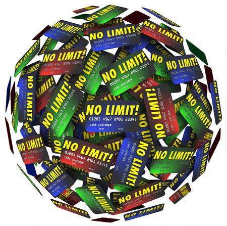 tomar prestado: No hay palabras Limit en tarjetas de cr�dito en una bola o esfera para ilustrar un sinf�n de endeudamiento, compras, gastos, pr�stamos y deudas