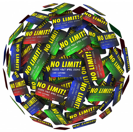 borrowing: No Limit words on credit cards in a ball or sphere to illustrate endless borrowing, shopping, spending, loans and debt