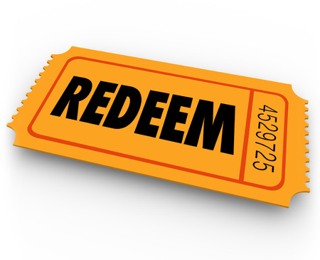 redemption: Redeem word on an orange ticket to illustrate special offer redemption or contest winning entry Stock Photo