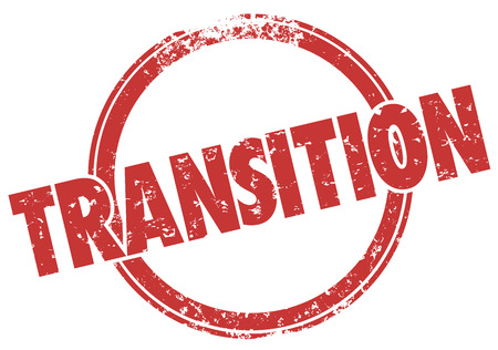 alteration: Transition word in a red round stamp in grunge ink style to illustrate change, transformation and revolution
