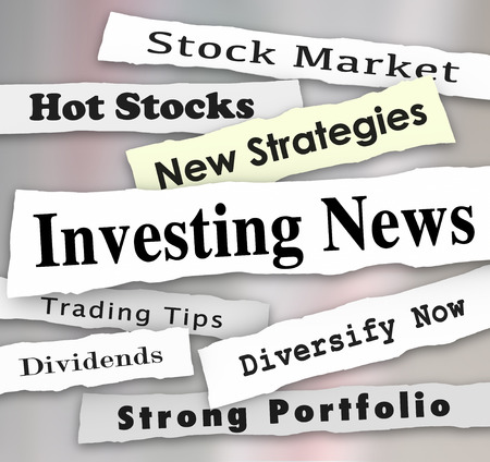 diversify: Investing News words on newspaper headlines to illustrate financial advice, stock market training tips and money making information