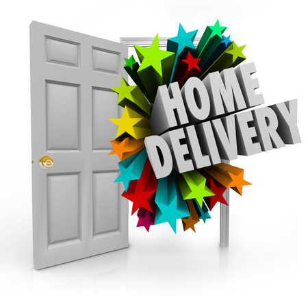 fulfilling: Home Delivery words in 3d letters coming in an open door to illustrate special shipment and arrival of your ordered products Stock Photo