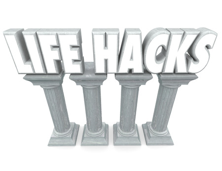 Life Hacks words in 3d letters on stone or marble columns to illustrate tools, techniques, tips, advice and steps to improve your habits, work and increase efficiency and productivity Stock Photo - 41726036