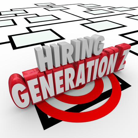 demos: Hiring Generation Z words in 3d letters on an organization chart to illustrate finding young employees for your company or business
