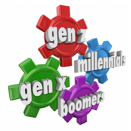Generation XYZ, Millennials und Boomers Worte in 3D-Buchstaben über Zahnräder auf unterschiedliche Altersstruktur und Absatzmärkten zu veranschaulichen Standard-Bild