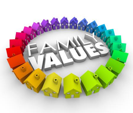 valores morales: Family Values ??palabra en letras 3d rodeada por un círculo de coloridas casas o viviendas en una comunidad, barrio o de la sociedad con la ética y la moral compartidos comunes