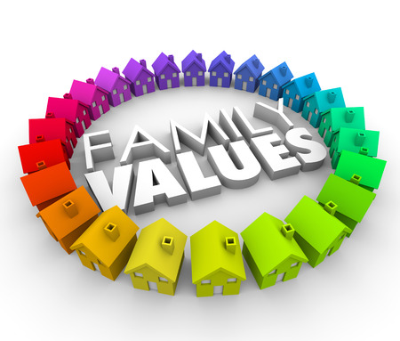 ethics and morals: Family Values word in 3d letters surrounded by a circle of colorful houses or homes in a community, neighborhood or society with shared ethics and common morals