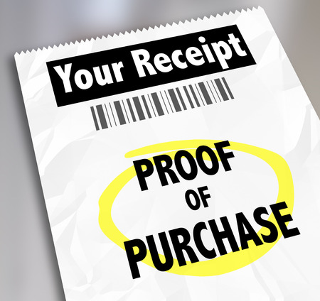purchase: Proof of Purchase words on a paper receipt with barcode from a store or seller of products you bought