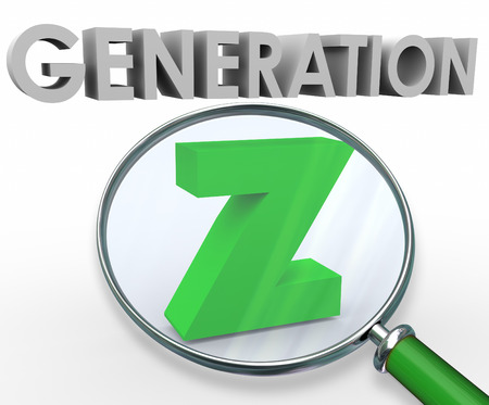 demos: Generation Z word in 3d letters under a magnifying glass to illustrate searching for and finding the young demographic group