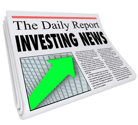money matters: Investment News headline on a newspaper titled The Daily Report with an arrow on a grid going up to illustrate growth in your portfolio of stocks, bonds and other money matters Stock Photo