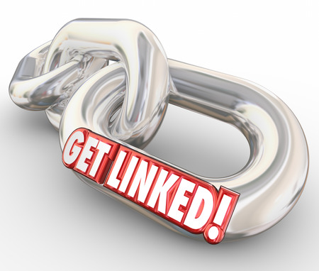 affiliation: Get Linked words in red 3d letters on connected chain links to illustrate partnering or joining in a network