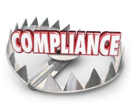 conform: Compliance word in red 3d letters on a steel bear trap to illustrate risk, danger and warning in not following rules