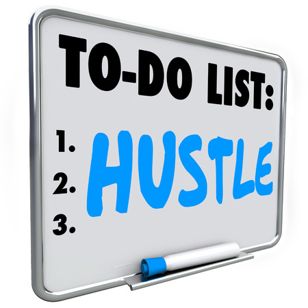 scamming: Hustle word written with blue pen or marker on a dry erase board to illustrate need to quickly make money, take action and achieve a result or outcome Stock Photo