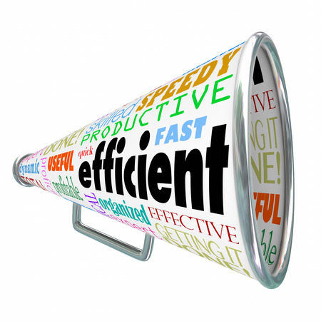 quota: Efficient word on a bullhorn or megaphone to illustrate an effective worker or organized person