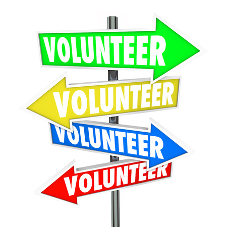 volunteer point: Volunteer word on arrow signs pointing you to different ways or places to donate your time to charity work