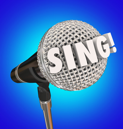 word lesson: Sing word in 3d letters on a microphone to illustrate a talent show or muscial vocal performance Stock Photo