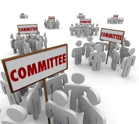 Ausschuss Zeichen und gemeinsam an Teams oder Arbeitsgruppen, um ein Problem oder Thema für die Organisation zu lösen Lizenzfreie Bilder