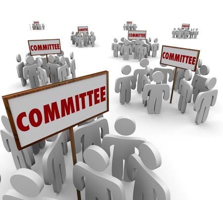 Committee signs and people working together on teams or task forces to solve a problem or issue for the organization