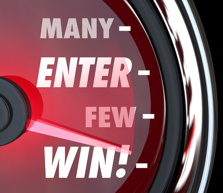 Many Will Enter Few Will Win words on a red speedometer to illustrate your odds or chances for victory in a competition, game, race or contest Stock Photo