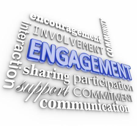 Engagment parola in 3d lettere con termini correlati, come l'interazione, la partecipazione, il coinvolgimento, l'incoraggiamento, la comunità, il sostegno, la comunicazione e la condivisione Archivio Fotografico