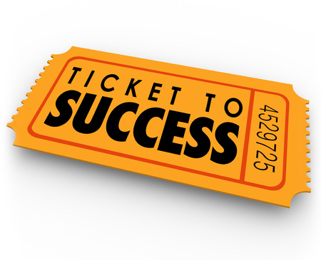 raffle: Ticket to Success words on a winning raffle or lottery pass to claim a prize, income, results, outcome or earnings Stock Photo