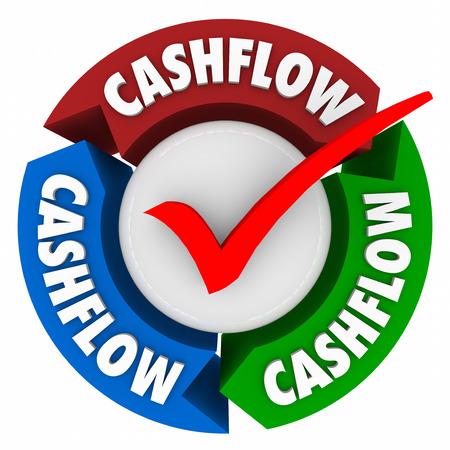 cashflow: Palabra Cashflow en flechas y marca de verificaci�n para ganar dinero o agregar un flujo de ingresos o ingresos para acumular riqueza y la riqueza Foto de archivo