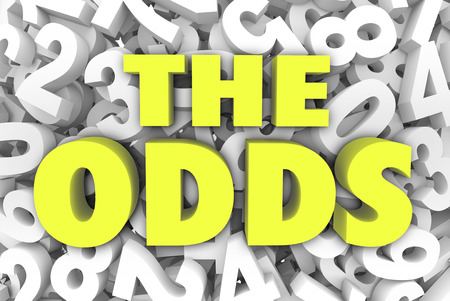 The Odds word in 3d letters on a background of numbers to illustrate your chances, likelihood, possibility or opportunity for success Stock Photo