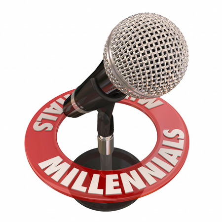 demos: Millennials word around a microphone to illustrate talking in an interview for a podcast, radio or public speaking forum Stock Photo