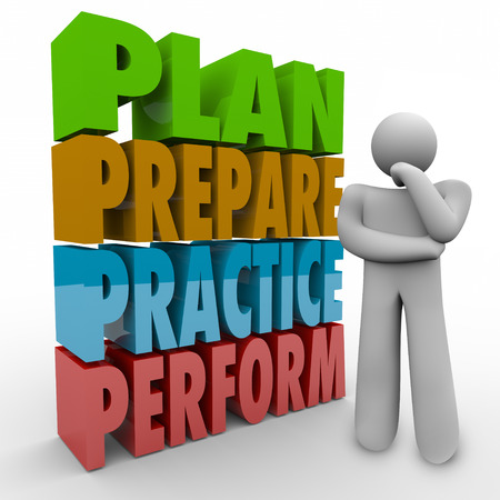 plotting: Plan, Prepare, Practice and Perform words and thinking person focusing on a strategy, goal, mission or idea for achieving success Stock Photo