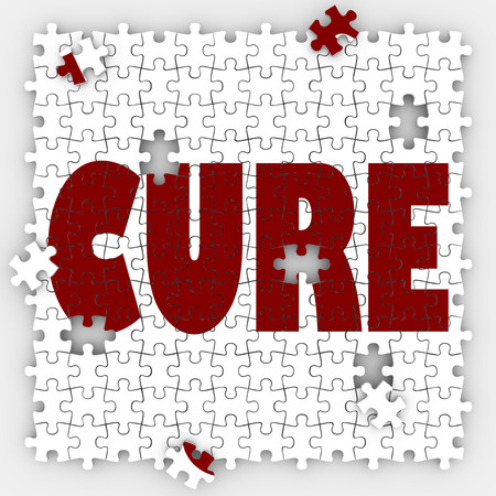 recuperating: Cure word on puzzle pieces to illustrate medical treatment and research for remedy or fix for an illness, disease or sickness