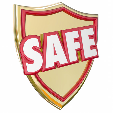 behave: Safe gold shield to reduce risk and avoid danger with protection and prevention of crime, theft or other illegal or hazardous activity