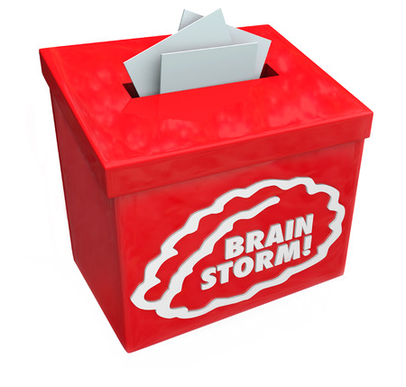 systems thinking: Brainstorm word on a red suggestion, collection or submission box for creative ideas from your teams imagination Stock Photo