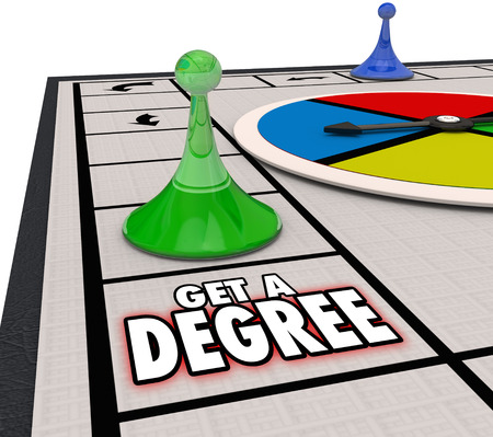 promoted: Get Degree board game moving forward to advance in a job or career through education or training and be promoted to a higher position