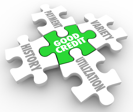 Good Credit words on a puzzle piece surrounded by principles or factors of borrowing money such as history, payment, variety and utilization