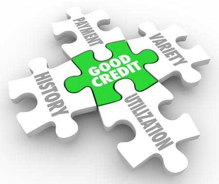 Good Credit Worte auf einem Puzzle Stück Prinzipien oder Faktoren der Kreditaufnahme wie Geschichte, Zahlung, Vielfalt und Nutzung umgeben