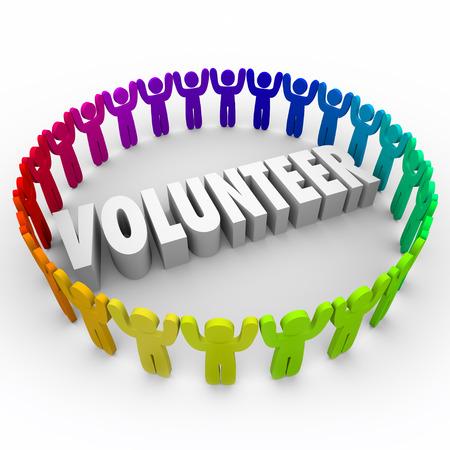 Vrijwilliger woord in 3d witte letters met een ring van mensen met opgeheven armen als mensen hun tijd doneren voor liefdadigheidswerk