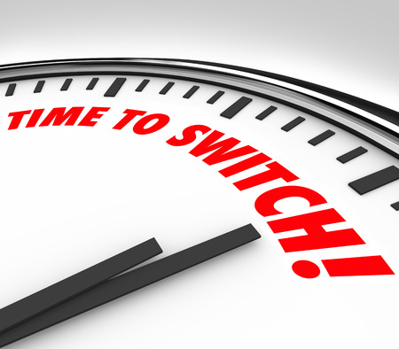 Time to Switch words on a clock face to illustrate a need to change or reverse course to improve your state or condition