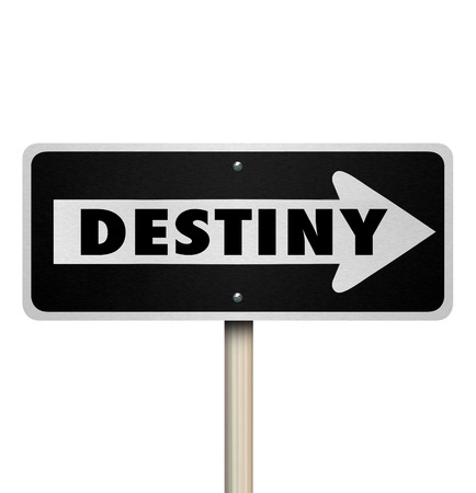 momentum: Destiny word on one way road sign to illustrate forward movement or momentum as you travel closer to your predestined fate or future Stock Photo