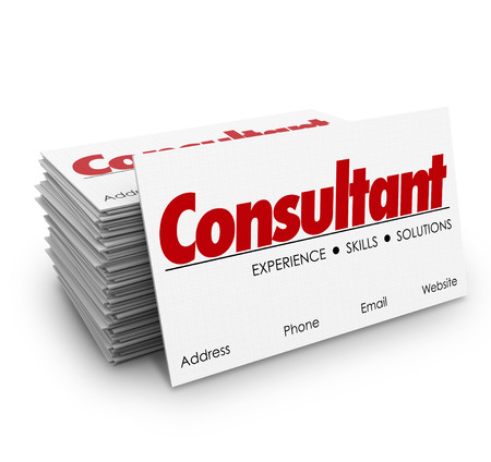 contracted: Consultant word for expertise, knowledge, skills and professional contract work on business cards in stack or pile