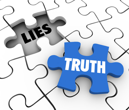 Truth word on a puzzle piece to fill a hole of lies in a puzzle to illustrate sincerity, honesty and the full facts or story Foto de archivo