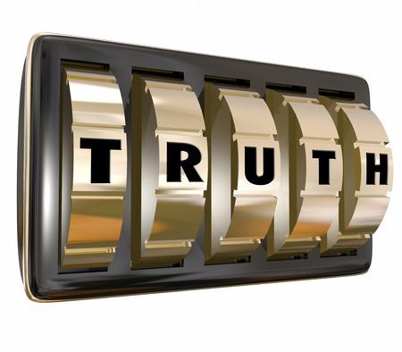 validity: Palabra Verdad con las cartas en los diales de bloqueo de seguridad para ilustrar desbloquear secretos o honestos hechos