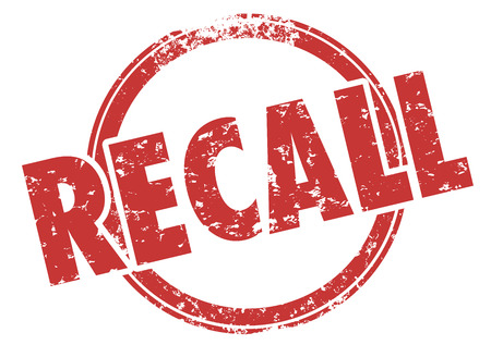 Recall word in red grunge style stamp to illustrate a defect in a product being called back for fix or repair to reduce risk of danger or injury Фото со стока