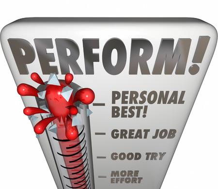 温度計で word を実行またはパフォーマンス、才能、結果またはグレード評価やフィードバック聴衆または裁判官のスコアと努力の結果を測定ゲージ 写真素材