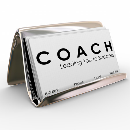 motivator: Coach word and Leading you to Success on a business card to advertise or promote your services as a leader, motivator, trainer, mentor or instructor for a team of athletes or business people Stock Photo