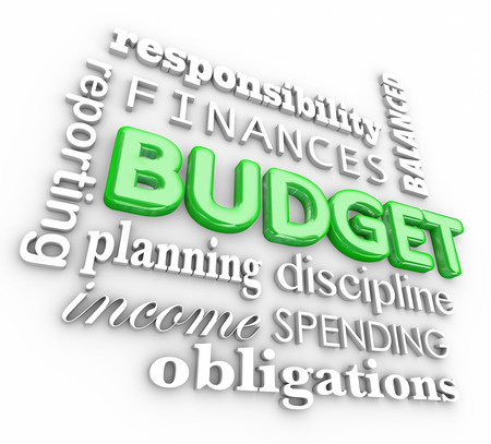 balanced budget: Budget 3d word collage for accounting or bookkeeping terms like planning, finances, responsibility, obligations, discipline, spending and reporting