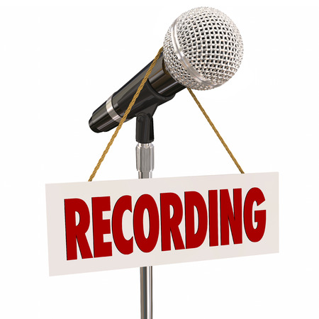 narration: Recording sign on microphone to warn or indicate speech, singing or audio narration is in progress