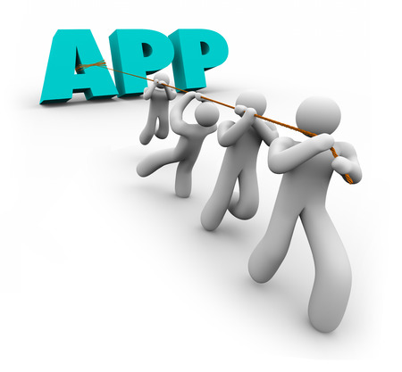 programmers: App word in 3d letters pulled by a team of developers or programmers to illustrate application mobile software development