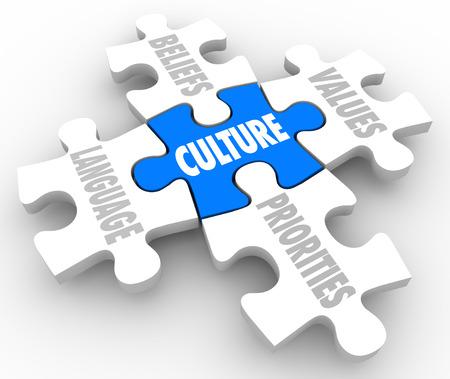 cooperación: Palabra cultura en la pieza de puzzle con elementos conectados marcó creencias, idiomas, prioridades y valores