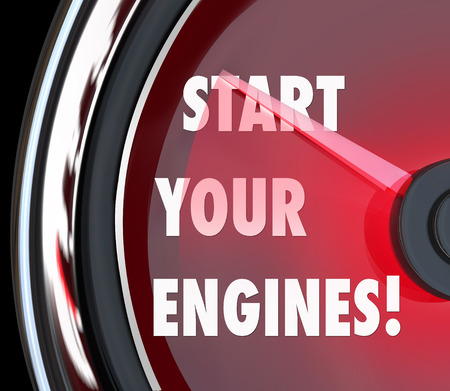 rev: Start Your Engines words on a red speedometer to illustrate beginning a race, competition or game to try to win or succeed Stock Photo