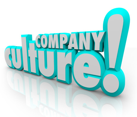 culture: Company Culture in 3d letters to illustrate a team or organization working together with shared history, language, social norms, values and priorities Stock Photo